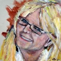 Portrait: Rosie auf Pizzakarton